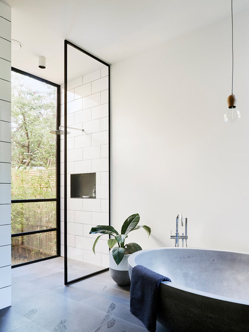 Bathroom   Industrial Master White Tile Bathroom Idea In Melbourne With  White Walls