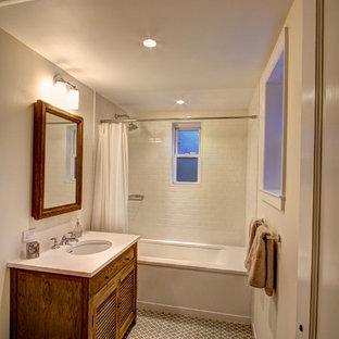 Elegant mosaic tile bathroom photo in New York