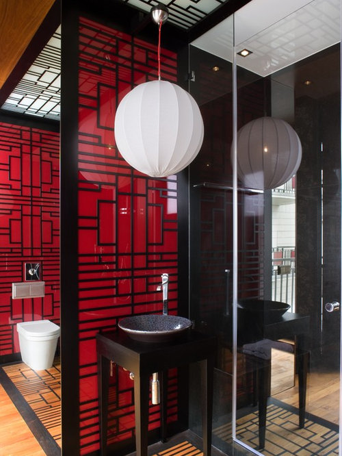 bathroom photo in other with a vessel sink and red walls - Bathroom Designs Black And Red