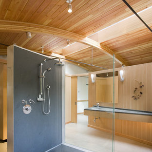 Inspiration for a contemporary walk-in shower remodel in Seattle