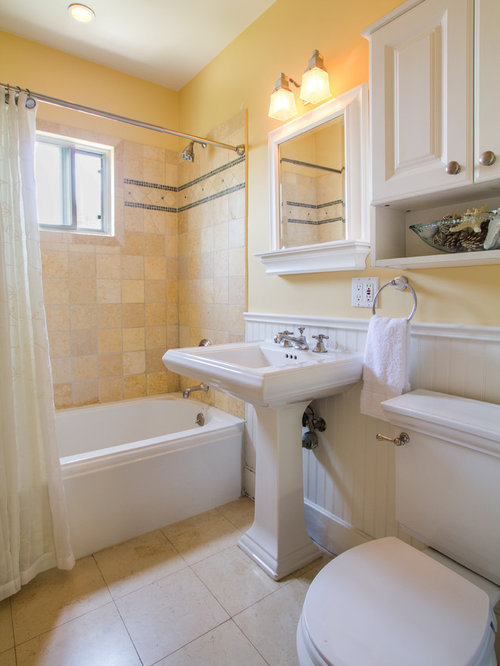 Bathroom Design Ideas Renovations Photos With Raised Panel Cabinets And Yellow Tiles