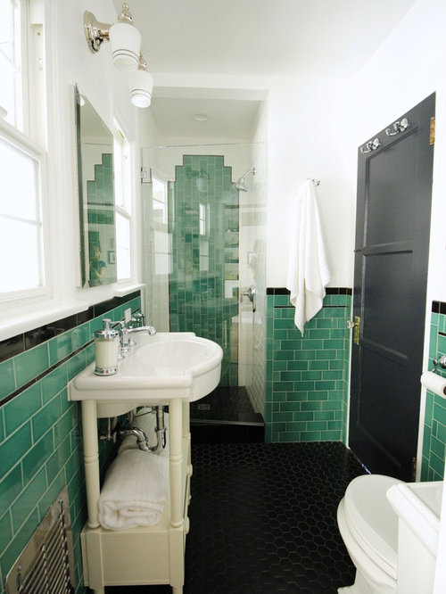 small classic shower room in los angeles with open cabinets green tiles metro tiles