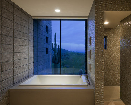 Southwest bathroom photo in Phoenix with a drop in tub  brown tile and  mosaicMaster Bath Walk in Shower   Houzz. Master Bath Walk In Shower. Home Design Ideas