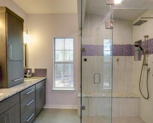 Bathroom design ideas renovations photos with gray tile for Grey and purple bathroom ideas