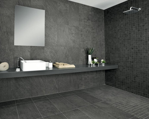 Black Bathroom Design Ideas, Remodels & Photos with Onyx Countertops
