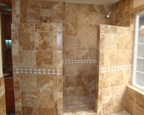 Mediterranean Double Walk In Shower Home Design Ideas Photos