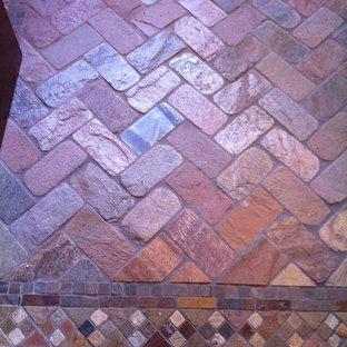 Patterned brick floor
