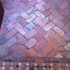 Eclectic Bathroom Patterned brick floor