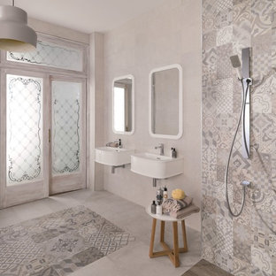 Inspiration for a contemporary ceramic tile and gray tile porcelain floor doorless shower remodel in Perth with a wall-mount sink and white walls