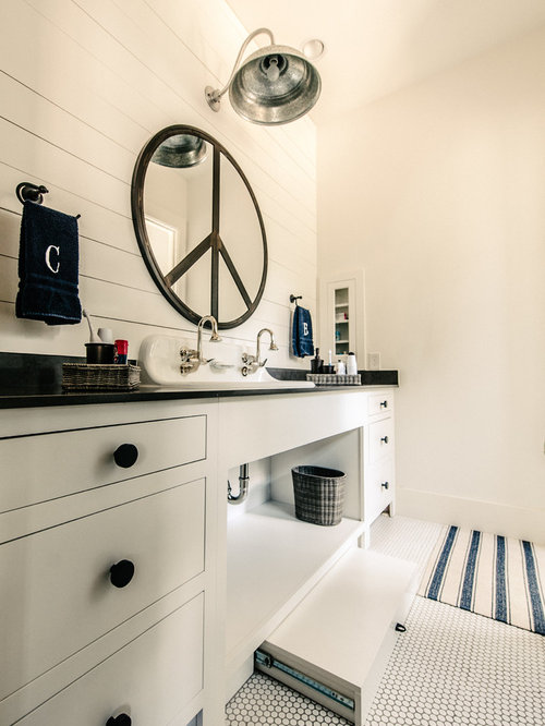 Transitional bathroom idea in Austin with a trough sink flat-panel cabinets and white  sc 1 st  Houzz & Pull-out Step Stool | Houzz islam-shia.org