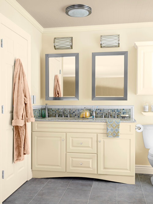 two tone bathroom design photos with yellow cabinets
