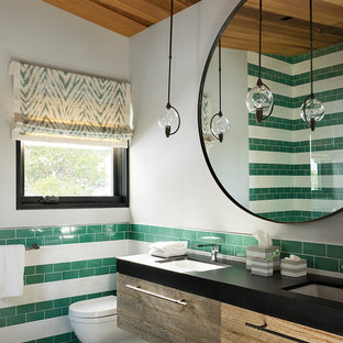 Inspiration For A Contemporary 3/4 Green Tile, White Tile And Ceramic Tile  Mosaic