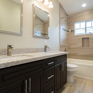 Inspiration For A Mid Sized Contemporary Master Beige Tile And Porcelain  Tile Porcelain Floor And