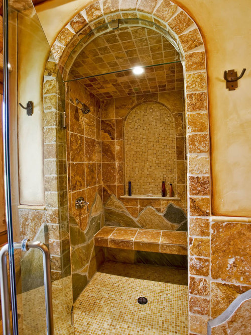Arched shower door houzz for Types of walk in showers