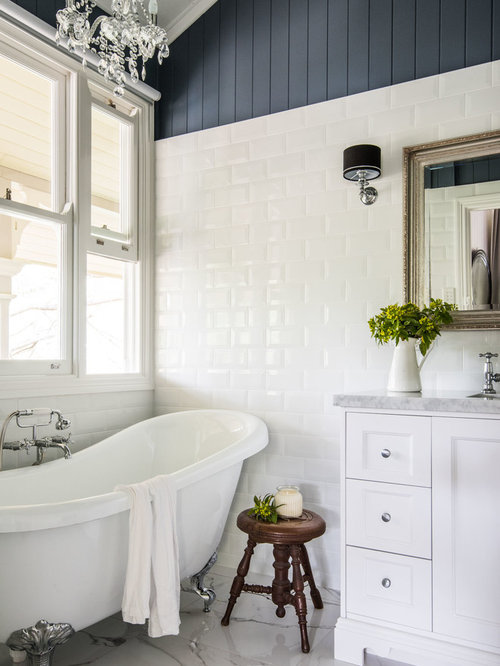 design ideas for a mid sized country master bathroom in brisbane with white cabinets - Country Bathroom