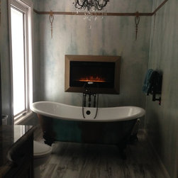 "Penhaglion Tubs In Client's Homes - 'The Lanercost' 73"" Cast Iron Slight Slipper Bateau Tub Package"