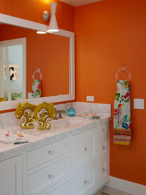 Orange Bathroom Home Design Ideas, Pictures, Remodel and Decor