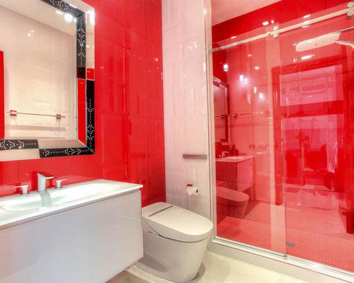 badezimmer mit roten fliesen und bidet ideen & beispiele für die, Hause ideen