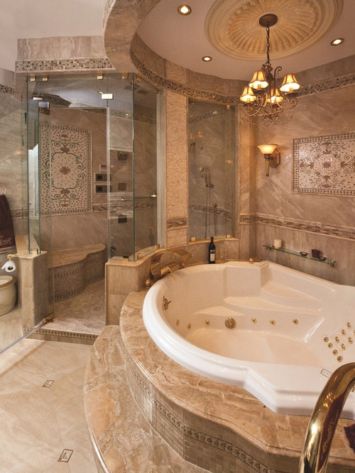 Exceptionnel Mid Sized Tuscan Master Mosaic Tile And Brown Tile Ceramic Floor Corner  Shower Photo In