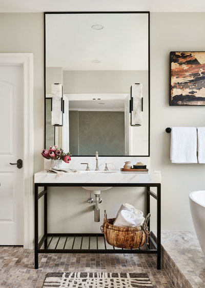 Transitional Bathroom by Garrison Hullinger Interior Design Inc.