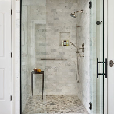 Bathroom - large transitional master white tile and marble tile bathroom idea in Portland with furniture-like cabinets, black cabinets, a two-piece toilet, white walls, a console sink, marble countertops and white countertops
