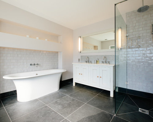 Bathroom Design Grey And White Cabinets White Cabinets White Tile Subway Tile And White Walls