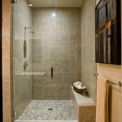 Inspiration for a contemporary mosaic tile bathroom remodel in Portland