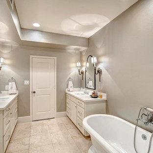 75 most popular shabby-chic style bathroom with vinyl