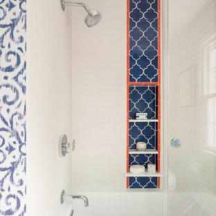 Peppy Shower Niche with Blue Accent Tile and Orange Trim