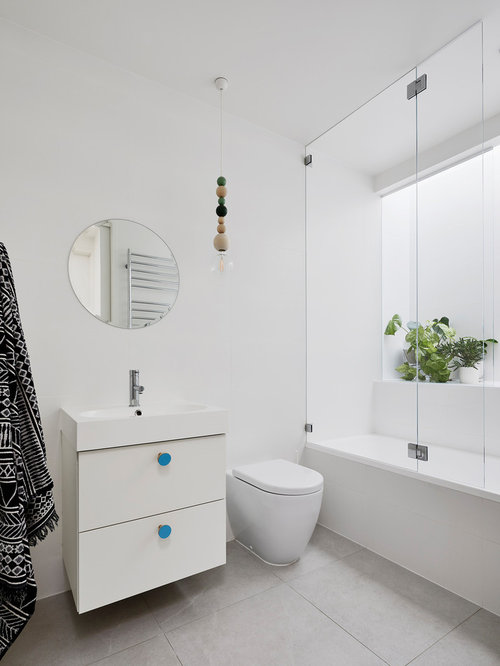 Design Ideas For A Scandinavian 3 4 Bathroom In Melbourne With Flat Panel Cabinets