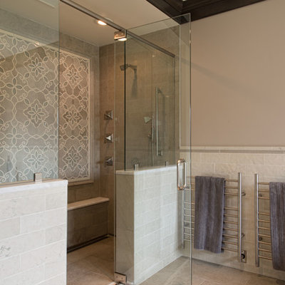 Example of a huge classic master mosaic tile and beige tile doorless shower design in Boston with a hinged shower door