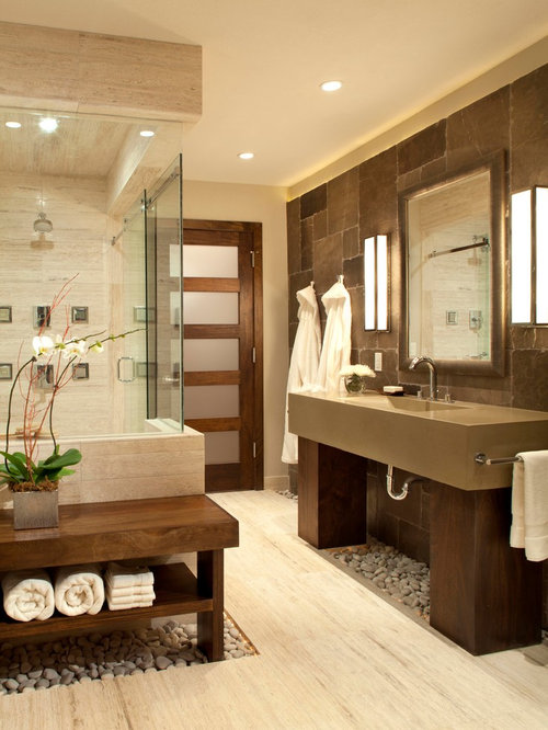 Contemporary Brown Tile And Travertine Tile Corner Shower Idea In Denver  With An Integrated Sink