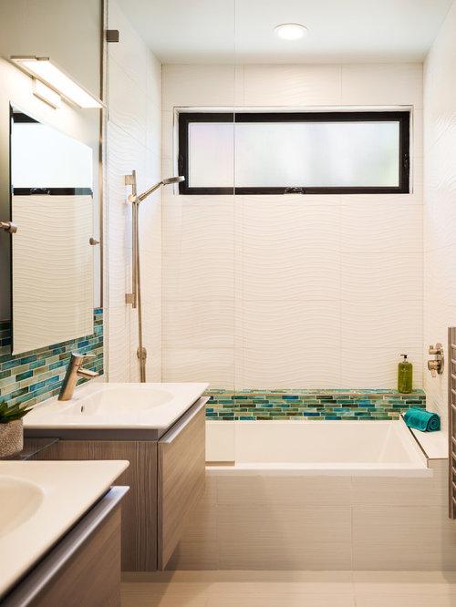 mid sized trendy kids white tile and porcelain tile porcelain floor and beige floor - Bathroom Designs For Kids
