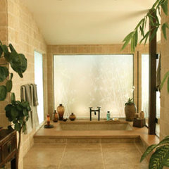 tropical bathroom by Peter Vincent Architects