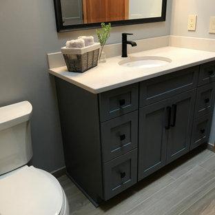 ミルウォーキーの中くらいのトランジショナルスタイルのおしゃれな子供用バスルーム (シェーカースタイル扉のキャビネット、グレーのキャビネット、アルコーブ型浴槽、アルコーブ型シャワー、分離型トイレ、青い壁、磁器タイルの床、アンダーカウンター洗面器、クオーツストーンの洗面台、ベージュの床、シャワーカーテン、ベージュのカウンター、洗面台1つ、造り付け洗面台、三角天井) の写真