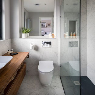 Bathroom   Small Contemporary 3/4 Gray Tile And Marble Tile Linoleum Floor  And White