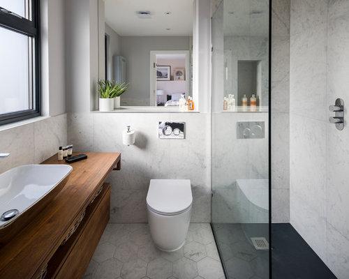 Bagno Con Doccia Aperta : Bagno con pavimento in linoleum e piastrelle di marmo foto idee
