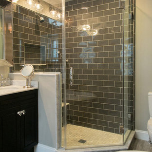 Small eclectic master black tile and subway tile porcelain floor bathroom photo in Philadelphia with an undermount sink, furniture-like cabinets, black cabinets, marble countertops, a one-piece toilet and gray walls