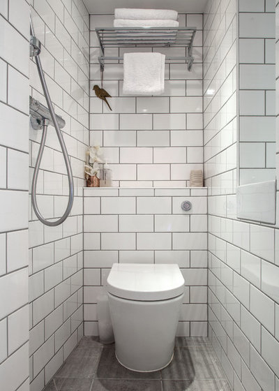 Transitional Bathroom by Adelina Iliev Photography
