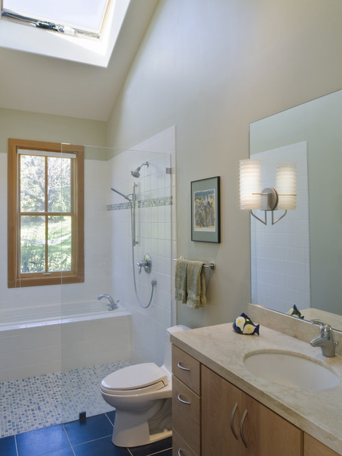 enclosed tub and shower combo. Trendy mosaic tile bathroom photo in San Francisco Whirlpool Tub Shower Combination  Houzz
