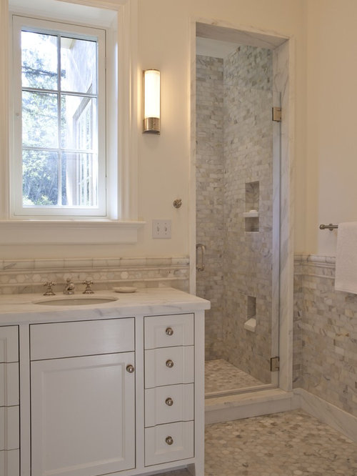 Inspiration For A Timeless Mosaic Tile Bathroom Remodel In San Francisco