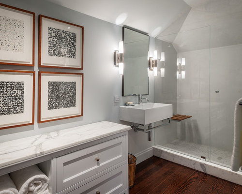 Inspiration For A Transitional Bathroom Remodel In San Francisco With A  Wall Mount Sink