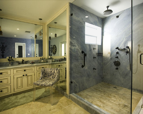 Wonderful Example Of A Tuscan Blue Tile And Marble Tile Bathroom Design In Miami With  Raised