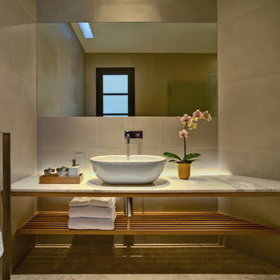 Inspiration for a contemporary bathroom remodel in Phoenix with a vessel sink