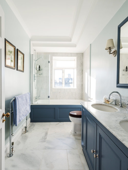 Bathroom Design Ideas Remodels Amp Photos With Blue Cabinets