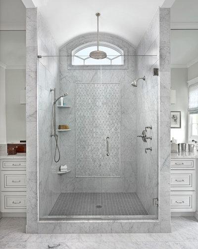 Transitional Bathroom by Marianne Jones LLC