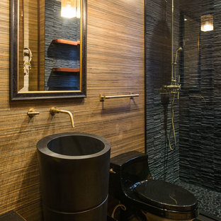 Design ideas for a mid-sized modern 3/4 bathroom in Denver with black tile, beige walls, light hardwood floors, a pedestal sink, an alcove shower, a one-piece toilet, matchstick tile and zinc benchtops.