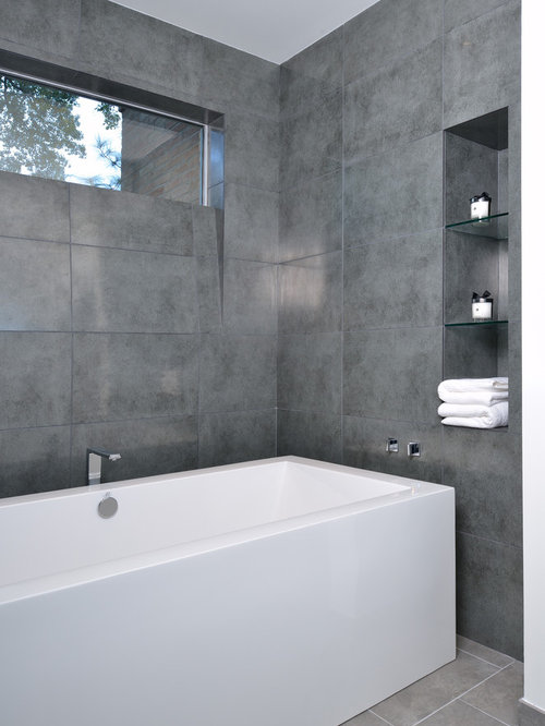 modern gray tile bathtub idea in houston