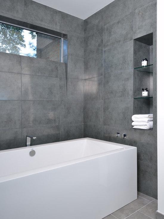 gray tile bathroom | houzz