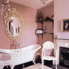 eclectic bathroom Pink bathroom- apartment therapy